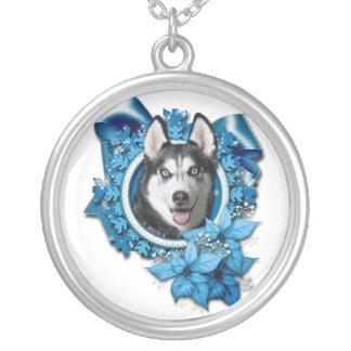 Christmas - Blue Snowflakes - Siberian Husky Necklaces