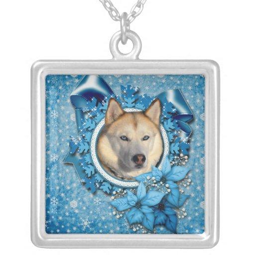 Christmas - Blue Snowflakes - Siberian Husky Custom Jewelry