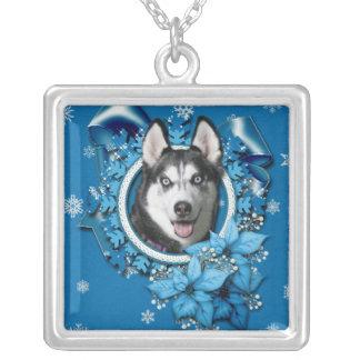 Christmas - Blue Snowflakes - Siberian Husky Pendants