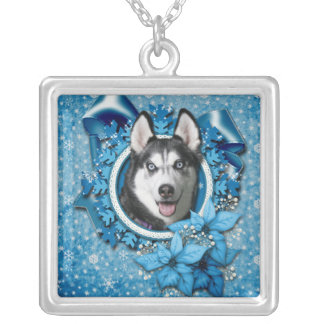 Christmas - Blue Snowflakes - Siberian Husky Personalized Necklace