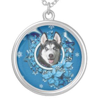 Christmas - Blue Snowflakes - Siberian Husky Custom Necklace