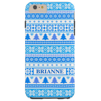 Christmas Blue Snowflakes Tough iPhone 6 Plus Case
