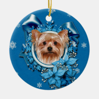 Christmas - Blue Snowflakes - Yorkshire Terrier Ceramic Ornament