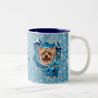 Christmas - Blue Snowflakes - Yorkshire Terrier Two-Tone Coffee Mug