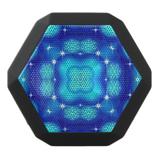 Christmas blue white snowflake pattern black bluetooth speaker