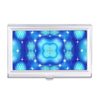 Christmas blue white snowflake pattern business card holder