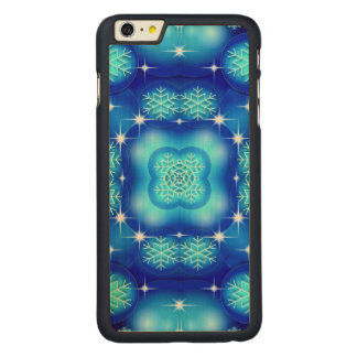 Christmas blue white snowflake pattern carved maple iPhone 6 plus case