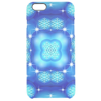 Christmas blue white snowflake pattern clear iPhone 6 plus case