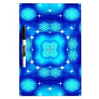 Christmas blue white snowflake pattern dry erase board