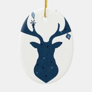 Christmas Boho Deer Head Ceramic Ornament