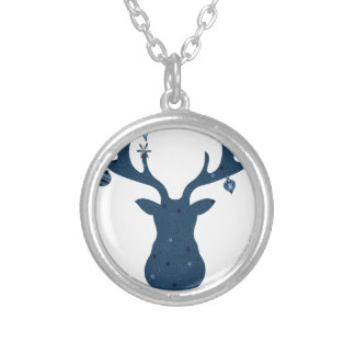 Christmas Boho Deer Head Silver Plated Necklace
