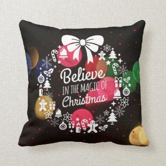 Christmas Bokeh Holiday Wreath Believe Throw Pillow
