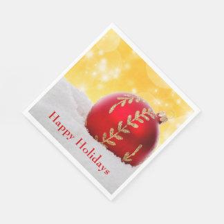 Christmas Bokeh Snow Christmas Ball Disposable Napkins