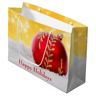 Christmas Bokeh Snow Christmas Ball Large Gift Bag