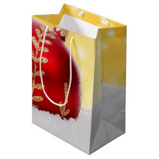 Christmas Bokeh Snow Christmas Ball Medium Gift Bag