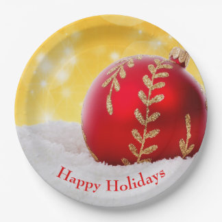 Christmas Bokeh Snow Christmas Ball Paper Plate