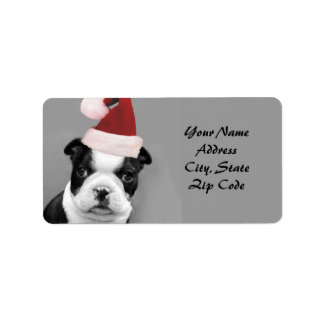 Christmas Boston Terrier address labels