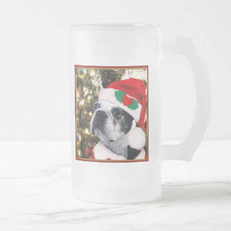 Christmas Boston terrier Frosted Glass Beer Mug