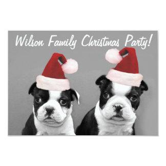 "Christmas Boston Terrier puppies 3.5"" X 5"" Invitation Card"