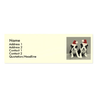 Christmas Boston Terrier puppies Mini Business Card