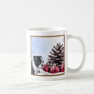 Christmas Boston Terrier Puppy Coffee Mug