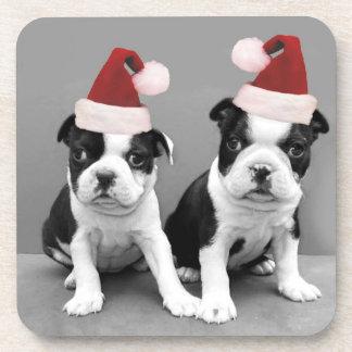 Christmas Boston terriers Drink Coaster