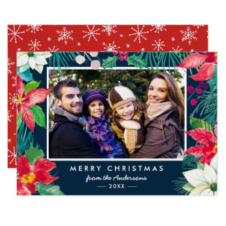 Christmas Botanical Floral Family Photo Holiday Card