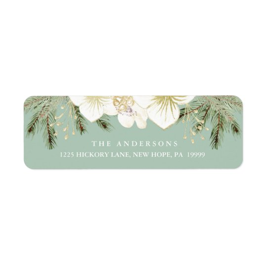 Christmas Botanical Watercolor Flowers & Foliage Return Address Label