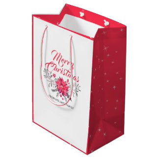 Christmas Bouquet & Modern Typography Medium Gift Bag