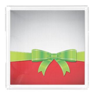 Christmas bow acrylic tray