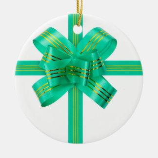 Christmas Bow Ceramic Ornament