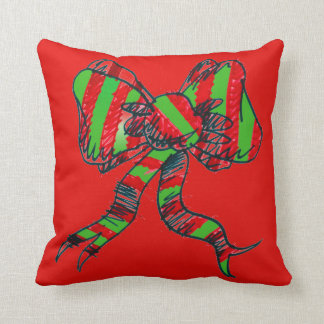 Christmas Bow Red Pillow