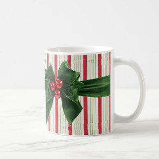 Christmas bow with striped background coffee mug