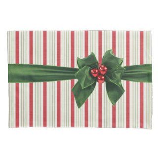 Christmas bow with stripey background pillowcase
