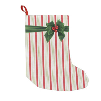 Christmas bow with stripey background small christmas stocking