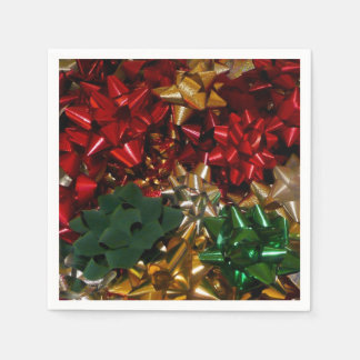 Christmas Bows Colorful Festive Holiday Paper Napkin