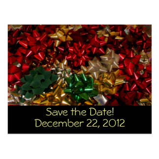 Christmas Bows Save the Date Postcard