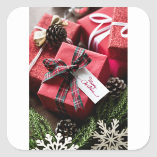 Christmas box merry Christmas letters Square Sticker