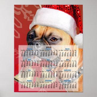 Christmas Boxer dog 2012 calendar poster