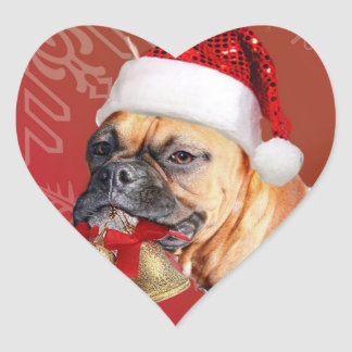 Christmas Boxer dog Heart Sticker