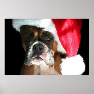 Christmas Boxer Dog poster