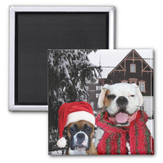 Christmas Boxer Dogs magnet