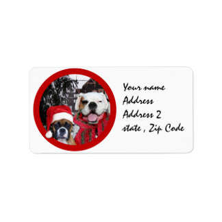 Christmas boxer dogs mailing labels