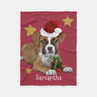 Christmas Boxer persoanlized dog fleece blanket