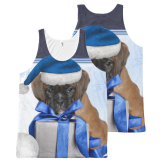 Christmas Boxer  puppy all over print tank top