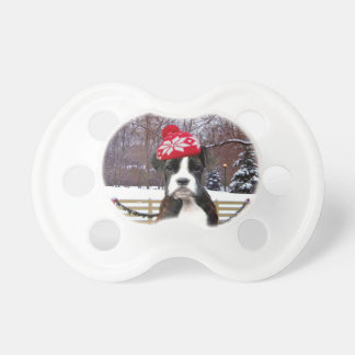 Christmas Boxer puppy dog Baby Pacifier