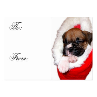 Christmas Boxer Puppy Gift tags Large Business Card