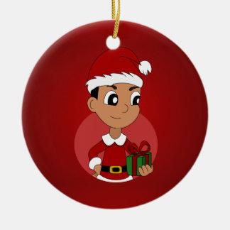Christmas boy cartoon round ceramic ornament