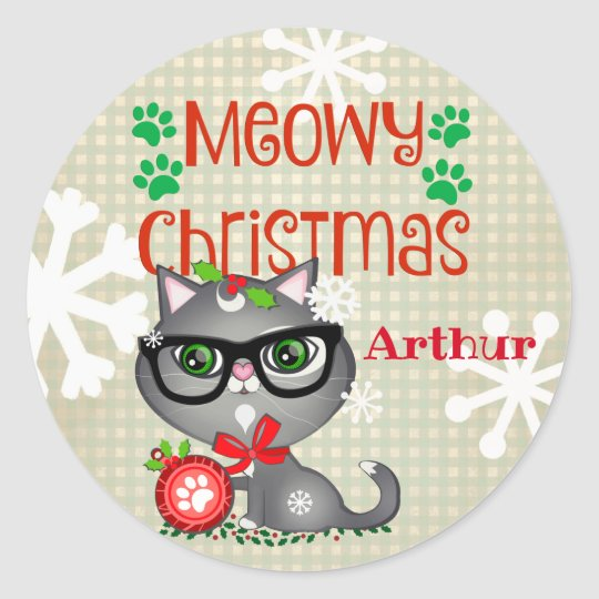 Christmas Boy Kitty Cat Custom Stickers