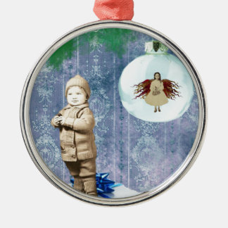 Christmas Boy With His Angel Metal Ornament